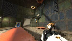Wenn es um didaktisches Gamedesign geht, sind Portal 1 und, wie auf dem Screenshot zu sehen, Portal 2, sehr gute Vorbilder.